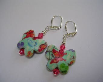 Howlite Butterfly Earrings Pretty Green and Pink Swarovski Crystal Butterfly Jewelry Leverback Hooks Wire Wrapped