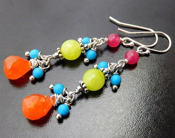 Colorful Gemstone Earrings, Neon Rainbow Drops, Boho Earrings, Carnelian Teardrops, Sterling Silver
