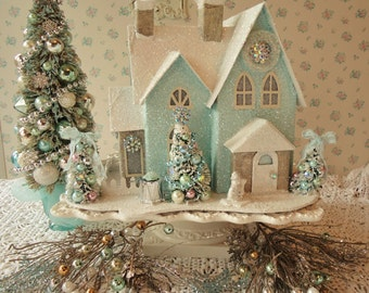 Aqua PUTZ Lighted House w/ Bottle Brush Trees - Shabby n Chic