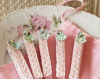 Shabby PINK Lace Clothes Pins - Pink and Aqua Forget Me Nots, AB Rhinestones, Laundry or Office