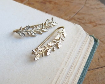 Gold Ear Crawler Leaf and Acorn Ear Climbers Yellow Gold Plated Earring or Ear Cuff Handmade Ear Sweep Earrings gift for her gift for wife