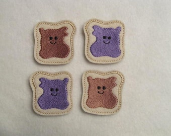 4 Felt Together Like PEANUT Butter And Grape JELLY Sandwich Applique Embellishments Style DBLB