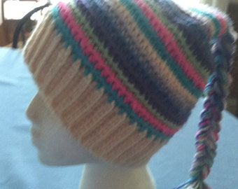 Scrap Buster Crochet Adult Hat With Multi-Color Braid