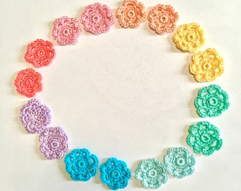 16 Pastel Crochet Flower Set, Flower Appliqués, Wedding Flowers, Crochet Appliqués,