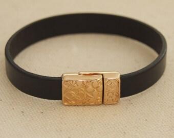 Black Gold Leather Bracelet Gold Magnetic Clasp Celtic Leather Rose Gold Black Leather Magnetic Bangle Bracelet Stackable Leather Casual