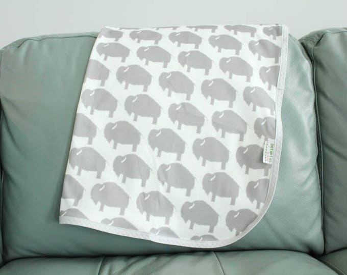 Baby blanket swaddle organic knit thin layer grey buffalo bison baby gift newborn shower present cotton binding nicely finished