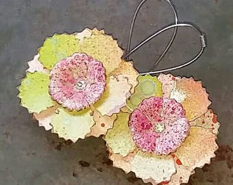 Pale green and pink flowers for your ears from Wendy Baker