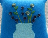 Recycled Cashmere Decorative Flower Pillow in Brown - Flowers in Canning Jar - Turquoise