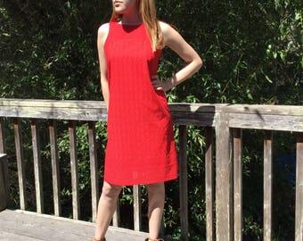 Handmade Red eyelet lace dress, Small, size 6-8, backless dress, sundress, women's dress