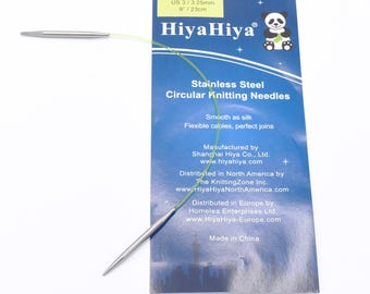 "US 3 (3.25 mm) 9"" sock circular HiyaHiya Stainless Steel Knitting Needle"