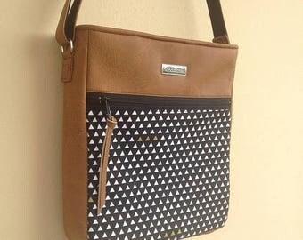 Ethnic Crossbody Bag, Vegan Leather Bag, Aztec Bag, Zippered Crossbody, Triangle Print Bag, Student Bag, Caramel Faux Leather Bag