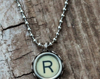 Personalized Initial Necklace, Vintage Typewriter Key, Letter R