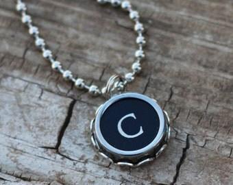 Initial C Necklace, Vintage Typewriter Key, Writer Gift