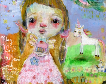 All the Sparkly Things - mixed media art print by Mindy Lacefield