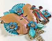 Upcycled Vintage Jewelry Collage Brooch Butterfly flower pink teal