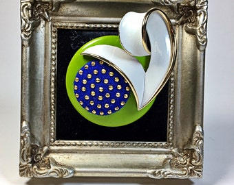 Ingrid Modern Art Upcycled Blue Green WhiteVintage Collage Brooch Pin