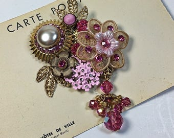 Priscilla Pretty in Pink vintage collage brooch assembly upcycled rhinestone flowers pin jewelry