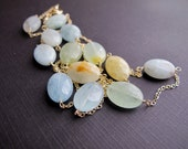 Multicolor Aquamarine on 14k Gold Filled Chain, Layering Necklace
