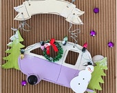 Personalized Camper Christmas Holiday Ornament. Rustic Christmas Decor. Happy Camper Decor. Fun Purple Winter Decoration. Gift under 15.