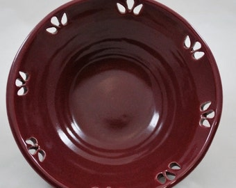 ON SALE Ceramic Bowl with Carved Teardrop Design Stoneware Clay Pottery