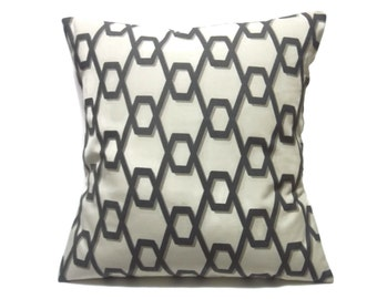 Decorative Pillow Cover Brown Cream Tan Geometric Design Same Fabric Front/Back Toss Throw Accent 18x18 inch  x