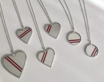Pinstriped red mirror pendants by Glass Action