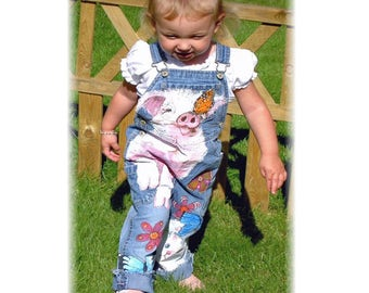 Childrens Dungarees, Painted Denim, Denim Overalls, Toddler Dungarees, Girls Dungarees, Painted Pig Kitten, Butterfly, Girls Easter Outfit