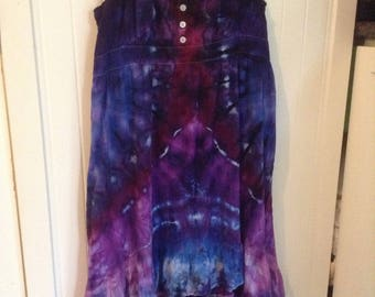 Size XL Tie Dye Dress Upcycled Mossimo Sundress Extra Large Hippie Dress Purple