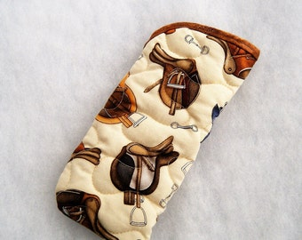 Quilted Sunglass/eyeglass case - English Saddles