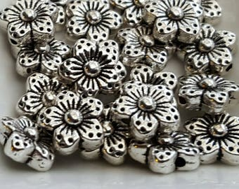 FLORAL beads antiqued silver finish 40 spacers 9mm