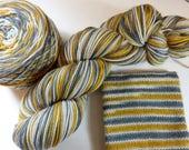 Handpainted Superwash Merino/Nylon 4-ply Sock Yarn -- Perfect Threesomes Striping Yarn for Socks or Gloves -- Tobacco Road