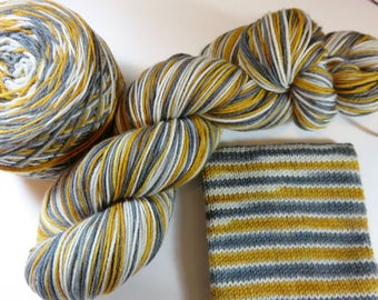 Handpainted Superwash Merino/Nylon 4-ply Sock Yarn -- Perfect Threesomes Striping Yarn for Socks or Gloves -- Tobacco Road