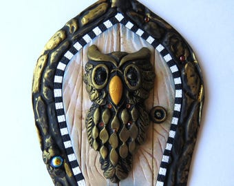Big Owl Fairy Door Polymer Clay Miniature Door for Fairy Gardens and Home Hand Crafted by Claybykim