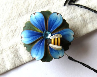 Blue Flower with a Bumble Bee Needle Minder, Magnetic Needle Nanny Handcrafted from Claybykim