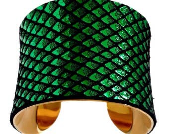 Green Dragon Scale Leather Cuff Bracelet - by UNEARTHED