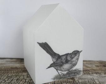 Little bird mixed media wood house. Original art monochrome white/black/grey. Modern home decor, 5th wedding anniversary gift