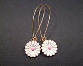 Daisy Earrings, Enamel and Gold Dangle Earrings, Long Flower Earrings, FREE Shipping U.S.