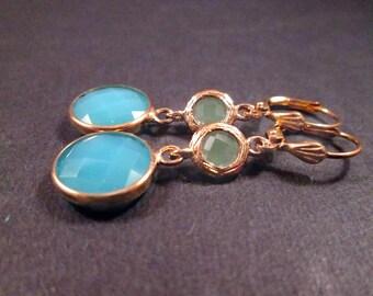 Aqua Blue and Sage Glass Bezel Earrings, Gold Dangle Earrings, FREE Shipping U.S.