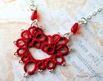Lace necklace red tatted heart with silver plated chain