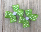 Apple Green and White Polka Dot Hair Bows,Pigtail Hair Bows,Alligator Clips,3 Inches Wide,Birthday Party Favors