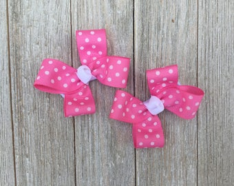 Pink and White Polka Dot Hair Bows,Pigtail Hair Bows,Alligator Clips,3 Inches Wide,Birthday Party Favors