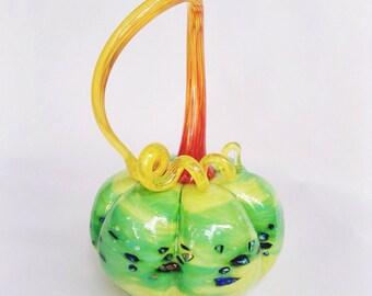 Tropical Rainforest Shimmer - Hand Blown Glass Pumpkin