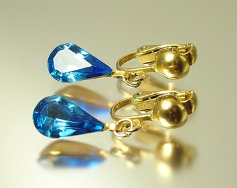Vintage/ antique Art Deco 1950s gold plated & blue crystal, glass paste rhinestone costume drop clip on earrings - estate jewelry jewellery