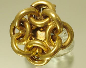 Vintage /estate Art Deco 1930s / 1940s gold plated knot dress clip - jewelry