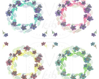 Watercolor Art Wreaths INSTANT DOWNLOAD Illustration files including 4 blossom accents, Commercial Use Included, Digital Art, Ready to Print