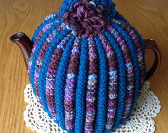 Knitted Tea Cosy, Knit Tea Cosy, Traditional Tea Cosy,, Colourful Tea Cosy