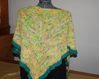 Confetti & Evergreen Shawl - Hand Knit
