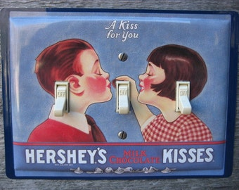 Switch Plate Light Switchplate Cover Triple Toggle For Unique Decor Made From Old Chocolate Kisses Tins A Kiss For You Tin Lunch Box TP-4008