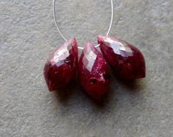 AA Dyed Ruby Faceted Chandelier Briolette - 13-14mm - 3 Beads