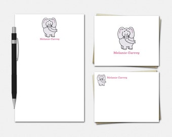 Elephant Stationery - Personalized Elephant Stationery Set - Personalised Stationary - Elephant Stationery for Kids